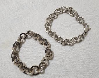 Vintage sterling silver delicate rolo chain bracelet.