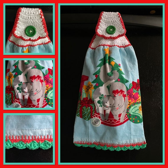 Holiday Snuggle Kitty's Kitchen Towel