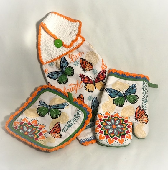 Crochet Hanging Kitchen Towel Set