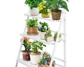 White Plant Stand Outdoor Indoor, 3 Tier Bamboo Ladder Plant Stand Plant Shelf Foldable Wooden Vertical Tiered Flower Shelf Foldable Flower