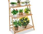 Outdoor Plant Stand, 3-Tier Foldable Bamboo Ladder Plant Shelf Wood Flower Pot Storage Rack with Gloves, Screwdriver, 3pcs Mini Plant Tools