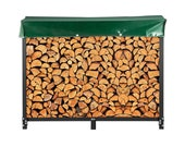 8ft Firewood Rack Outdoor, Black Rack Stand, Steel Rack, Log Holder with Load Capacity 1300lbs, Firewood Rack with Cover & Tool Set