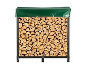 4ft or 5ft Firewood Rack Outdoor, Black Rack Stand, Steel Rack, Log Holder with Load Capacity 1300lbs, Firewood Rack with Cover & Tool Set