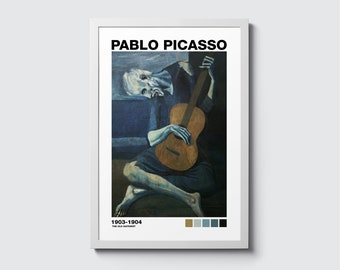 Picasso The Old Guitarist REPRO Art Print A4 A3 A2 A1