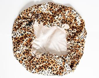 Leopard Cheetah Satin/Silk ADJUSTABLE reversible drawstring sleeping bonnet sleep cap to help fix frizz. Satin headwrap, satin turban curls