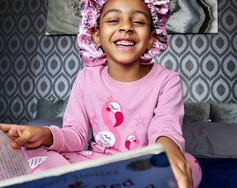Kids bonnet Frizz Control Vegan Silk Sleep Cap Patterned Bonnet