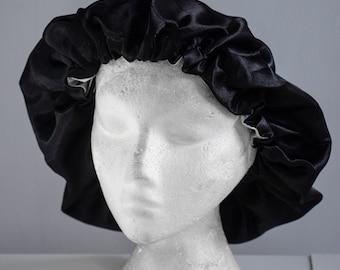 Satin/Silk ADJUSTABLE elastic reversible sleeping bonnet in Obsidian. Drawstring silk shower cap   Deluxe gifts for hair   Sleep cap for men