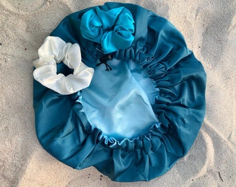 Satin/Silk ADJUSTABLE elastic reversible sleeping bonnet. Drawstring silk shower cap   Deluxe gifts for hair   Travel Essentials for holiday