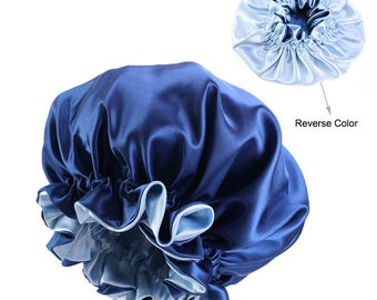 Vegan Silk Bonnet. Elasticated reversible sleeping cap. Ruffle frilly silk bonnet    Deluxe gifts for hair   Travel Essentials for holiday