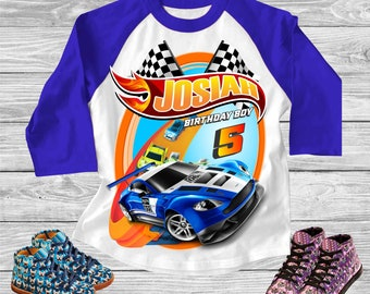 Hot Wheels Birthday Party Shirt. Boys Hot Wheels Blue Bleached T Shirt Hot Wheels Tee for Kids