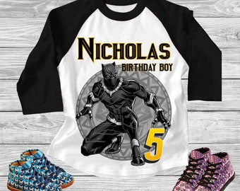 Marvel Black Panther Birthday Boy super hero Svg INSTANT DOWNLOAD Custom Matching birthday party shirt Iron on transfer Printable cut file