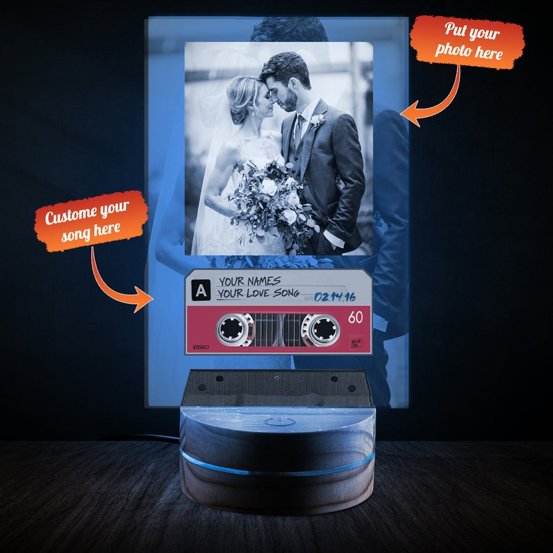 Personalized UV Printed Led Lamp With Spotify Code Custom Cover Desk Lamp Husband Wife Lamp Spotify Album Song Valentines Day Gifts
