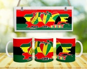 Peace Love Juneteenth Sublimation mug design american flag design printable 11oz and 15oz mug coffee sublimation wrap png file download