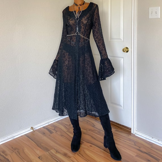 Upcycled Vintage 90s Black Sheer Lace Button-Up Be