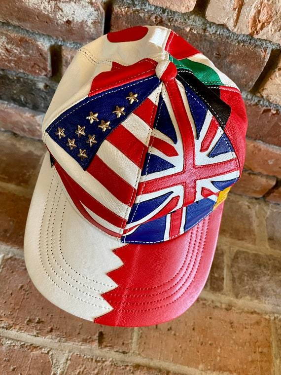 80s Leather Patchwork Snapback Studded Flag Hat