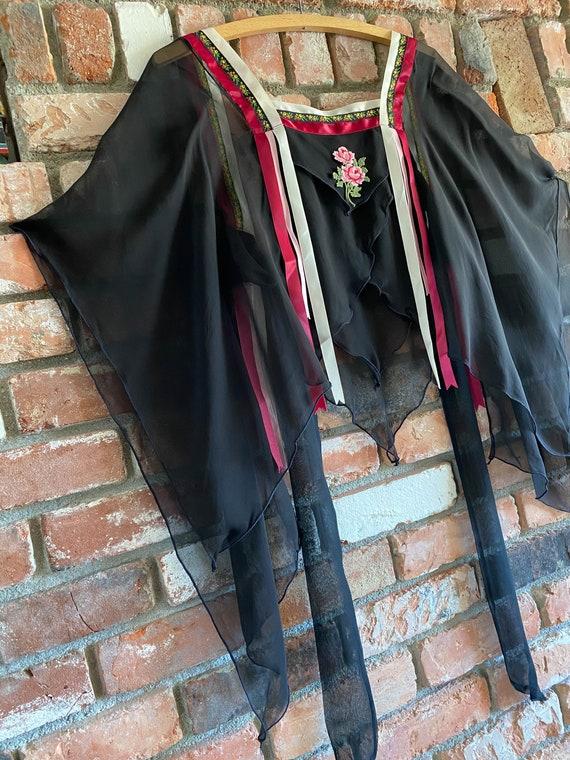 1970s Bohemian Silk Chiffon Jacket