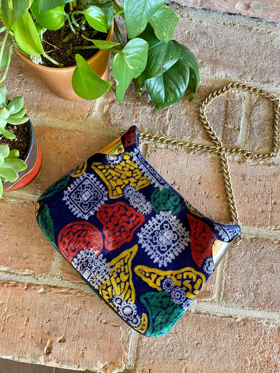 1960s Tiny Printed Velvet Handbag with Gold Chain