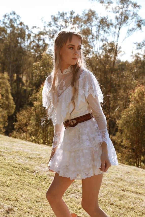 Vintage 1970s Wedding Dress, The Mini Luna, Vinta… - image 8