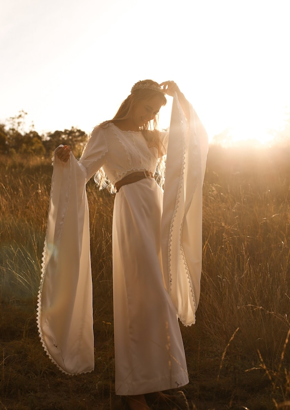 Vintage 1970s Wedding Dress, The Sunshine Dancer,