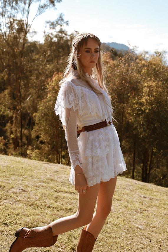 Vintage 1970s Wedding Dress, The Mini Luna, Vinta… - image 9