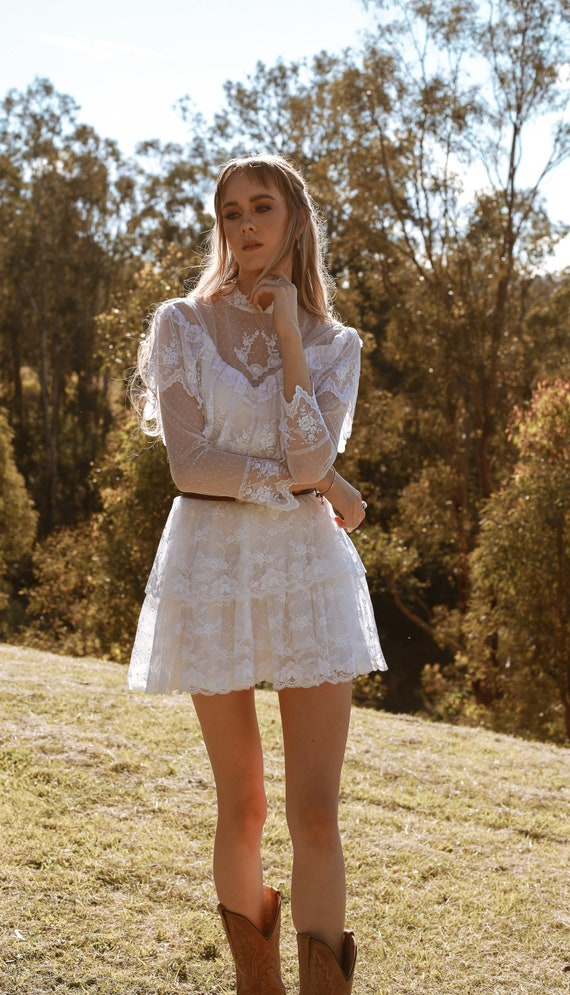 Vintage 1970s Wedding Dress, The Mini Luna, Vinta… - image 6