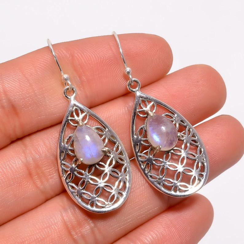 B/'day gift White Rainbow Earrings,Sterling Silver Earring,Earring For Women,925 Silver Earrings,Gemstone Earring,Women Jewelry,Gift For Her