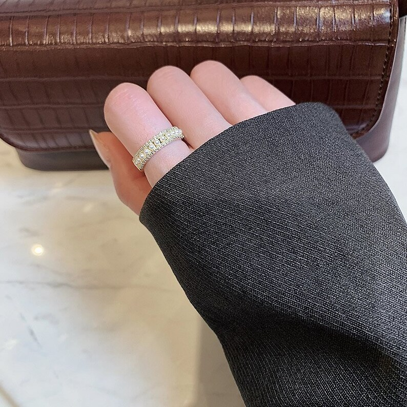 Gold Minimalist Ring Dainty Diamond Stacking Eternity Ring Simple Minimalist Diamond Ring