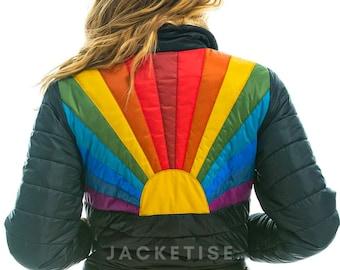 Women's Rainbow Sunburst Jacket - 70s Vintage Rock Style ski Jacket - Women Bomber Jacket