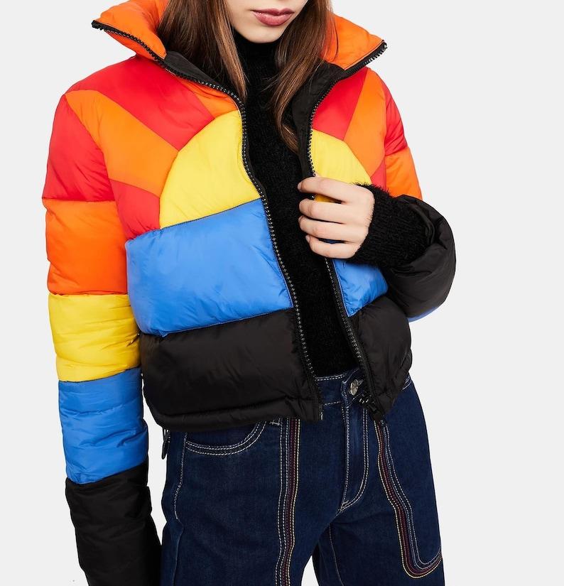 70s Jackets, Furs, Vests, Ponchos Womens Rainbow Sunrise Jacket 70s Vintage ski Jacket - Women Bomber Jacket Vintage Multicolor Sunburst Rainbow Jacket $102.91 AT vintagedancer.com