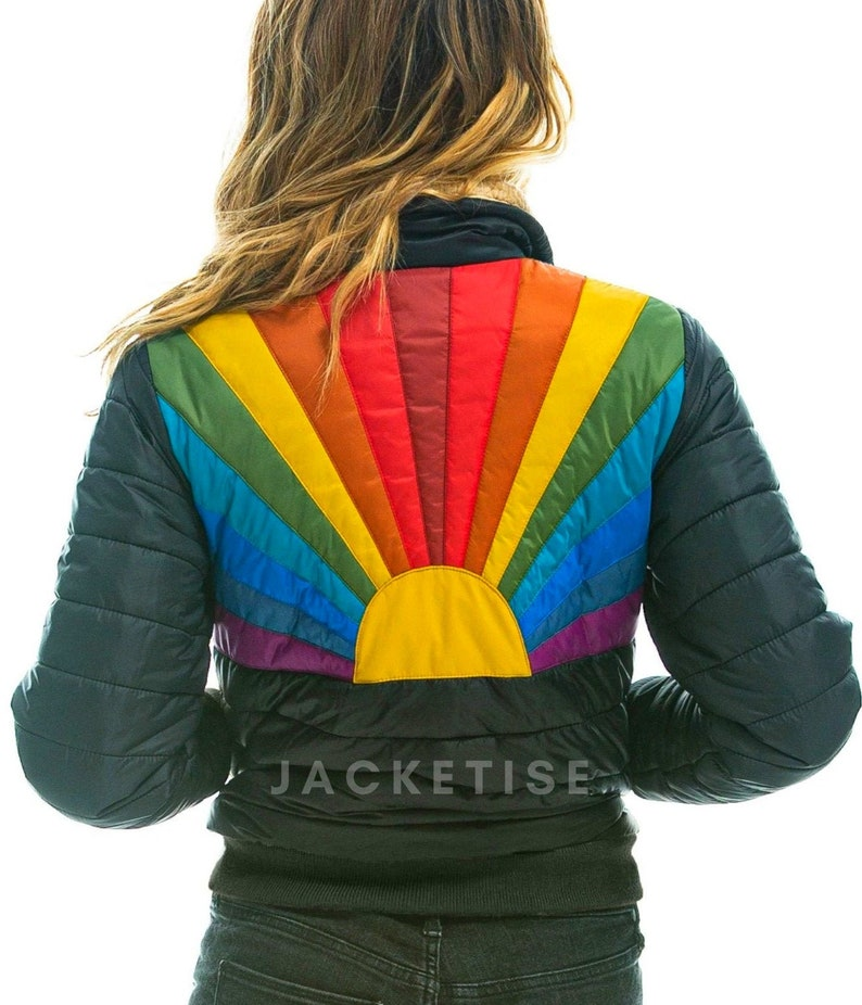 70s Jackets, Furs, Vests, Ponchos Womens Rainbow Sunburst Jacket - 70s Vintage Rock Style ski Jacket - Women Bomber Jacket $106.72 AT vintagedancer.com