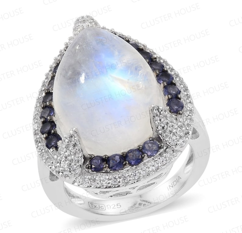women/'s gold moonstone ring Natural Moonstone Ring Diamond moon Ring Blue Sapphire and moonstone ring Big Rainbow moonstone ring