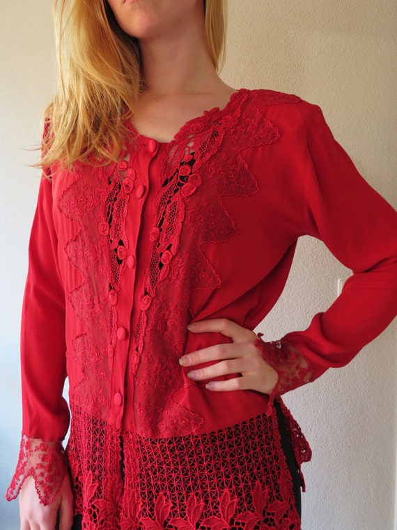 Vintage 80s Red Blouse Vest with lace Mastro Moda