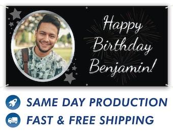 Happy Birthday Custom Vinyl Banner With Photo