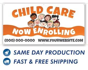 Child Care Now Enrolling Custom Vinyl Banner