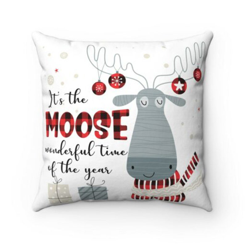 It\u2019s The Moose Wonderful Time Of The Year Throw Pillow \u2013 Decorative Pillow \u2013 Indoor Outdoor Cushion