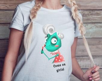 "Women's short sleeve t-shirt print ""Сome on girls!"".Shirt Mock Up,Modern Shirt Mockup,Fall mockup"