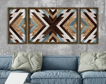 wooden wall decor boho decor geometric wall art farmhouse decor wooden wall mosaic Wooden Wall Art rustic decor