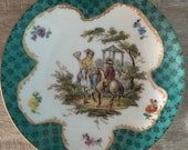 Dresden Chinoiserie Courting Scene Antique Small Plate - Vintage 19th Century