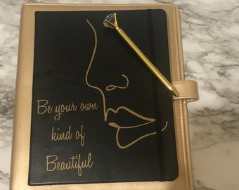 Be your own kind of Beautiful Black and gold leather bound Journal
