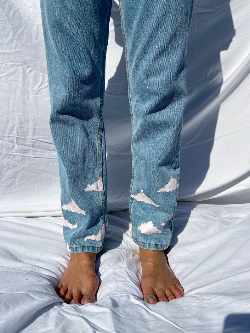 Hand Painted Cloud Jeans