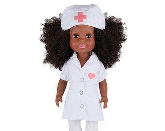 Basjia African American Black Nurse 14 Inch Doll COVID Frontline Worker Child Nurse
