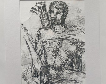 Original, signed, framed, portrait, male nude, painting, illustration, gay, homoerotic, sexy, tom of Finland, LGBTQ, small, gay love