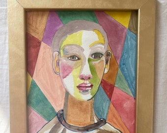 Original, signed, framed, water colour portrait, male, black, BLM, painting, illustration, on High Quality water paper, modernist, colourful