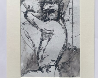 Original, signed, framed, portrait, male nude, painting, queer, gay, homoerotic, sexy, tom of Finland, LGBTQ, small, man in bed