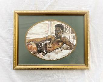 Original, framed signed portrait, black male, painting, illustration, on high quality paper, pretty boy, LGBTQ, homoerotic, nude, BLM