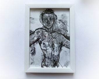 small, Original, signed, framed, portrait, male nude, painting, illustration, gay, homoerotic, sexy, tom of Finland, LGBTQ, pretty boy