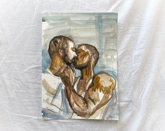Original, signed water colour portrait, male kiss, BLM, painting, illustration, on High Quality water paper, gay kiss, LGBTQ, homoerotic