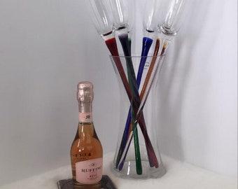 Vintage Super long champagne flutes in a vase bucket