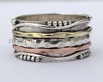 925 Sterling Solid Silver Band Spinner Ring,Wedding Gift Item Spinner Ring banithaniSpinner Ring-Meditation Band Ring-Thumb Spinner Ring