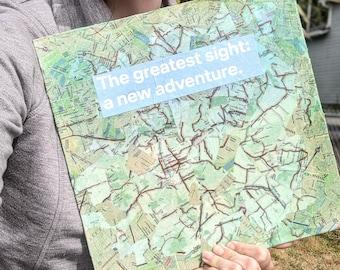 "New Adventure- Map Collage Artwork- Handmade - 12"" x 12"" Original Mixed Media"